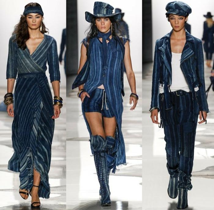 sommermode frauenmode damen greg lauren 2016 kollektion jeans streifen langes kleid kurze hose sakko