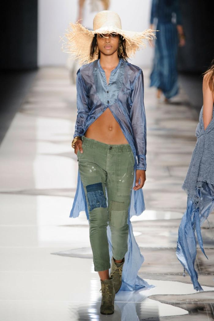 sommermode frauenmode damen greg lauren 2016 military hose eng blauer durchsichtig lang strohhut