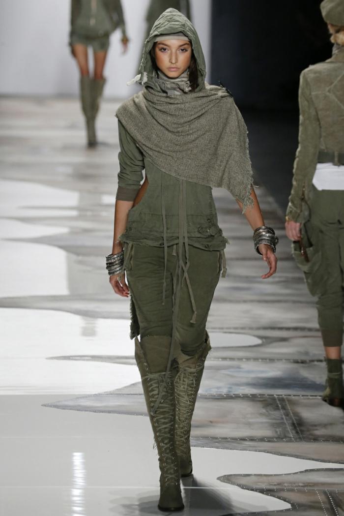 sommermode frauenmode damen greg lauren 2016 military stil schal kaputze stiefel