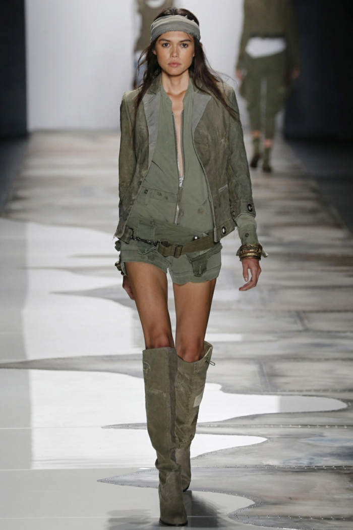 sommermode frauenmode damen greg lauren 2016 military stil stirntuch jacke stiefel