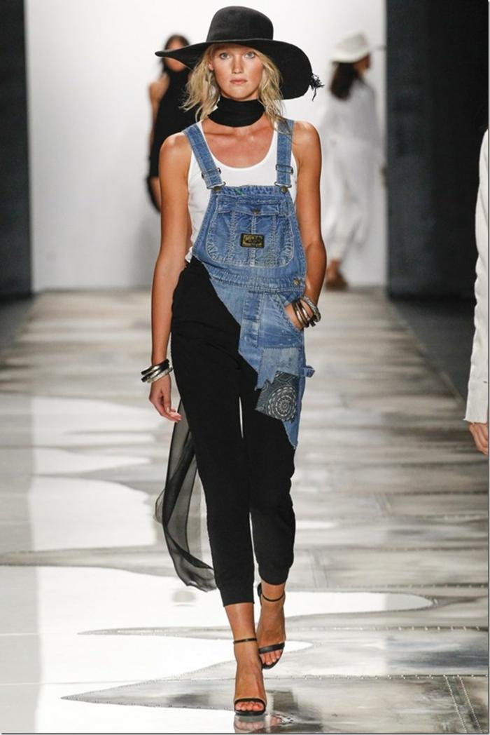 sommermode frauenmode damen greg lauren 2016 new york fashion week patchwork hose