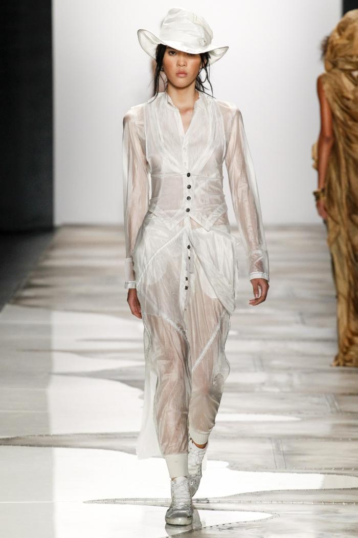 sommermode frauenmode damen greg lauren 2016 weiße bekleidung durchsichtig hut