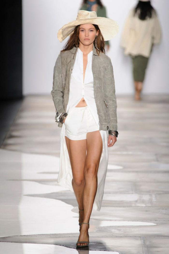 sommermodefrauenmode damen greg lauren 2016 weißes hemd lang kurze hose jacke sakko sommerhut
