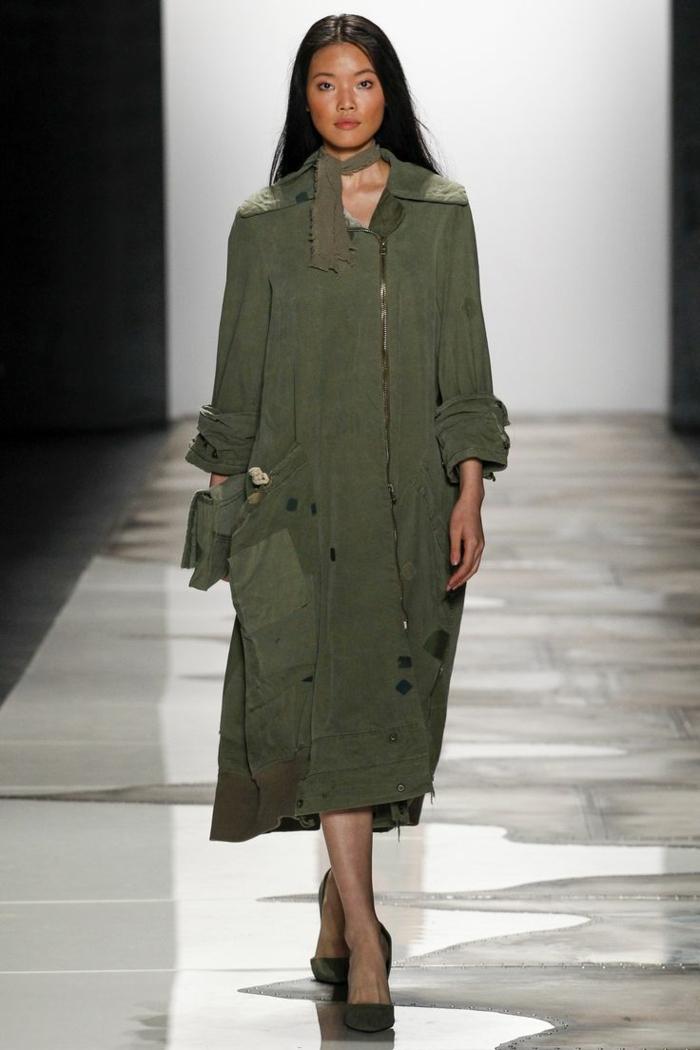 sommermode frauenmode damen greg lauren weiter mantel soldatengrün military