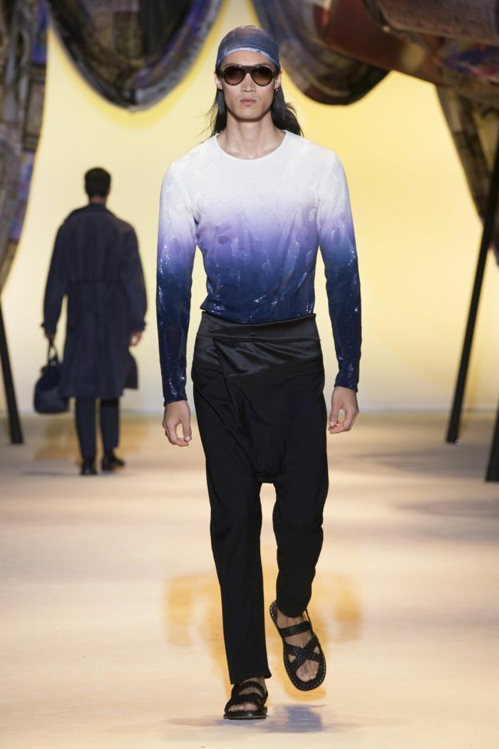 sommeroutfits versace 2016 sommermode frühling herrenmode trends obmre stil hemd orientalische hose