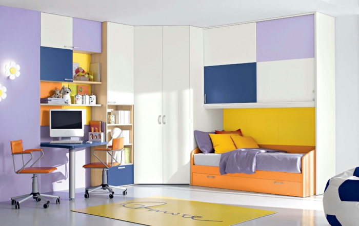 stauraum ideen kinderzimmer funktionale möbel farbig