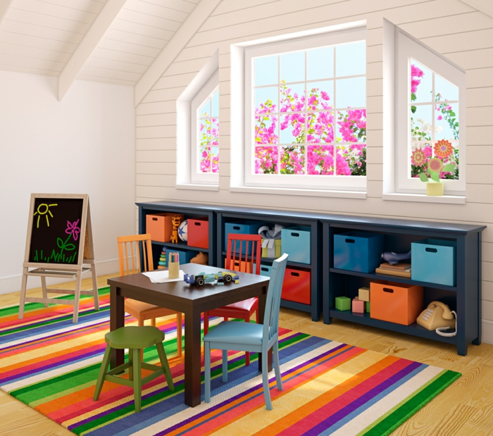 stauraum ideen wohnideen kinderzimmer farbige aufbewahrungskörbe streifenteppich