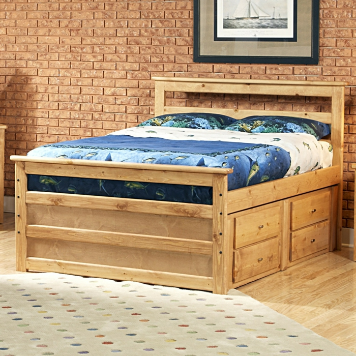 stauraum ideen wohnideen schlafzimmer stauraumbett teppich punkte