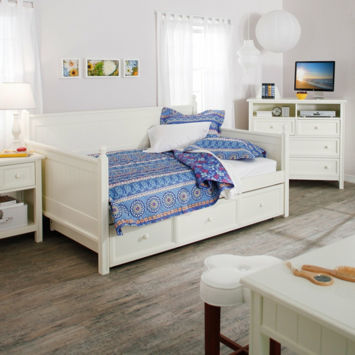 stauraum ideen wohnideen schlafzimmer stauraumbett weiße möbel