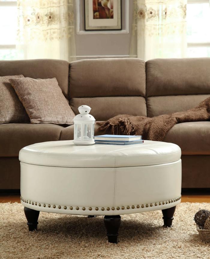 stauraum ideen wohnzimmer möbel rund weiß schick hocker