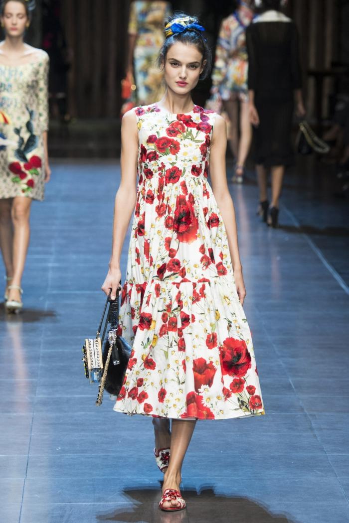 vintage kleider damenmode neue tendenzen blumenmuster dolce gabbana 2016