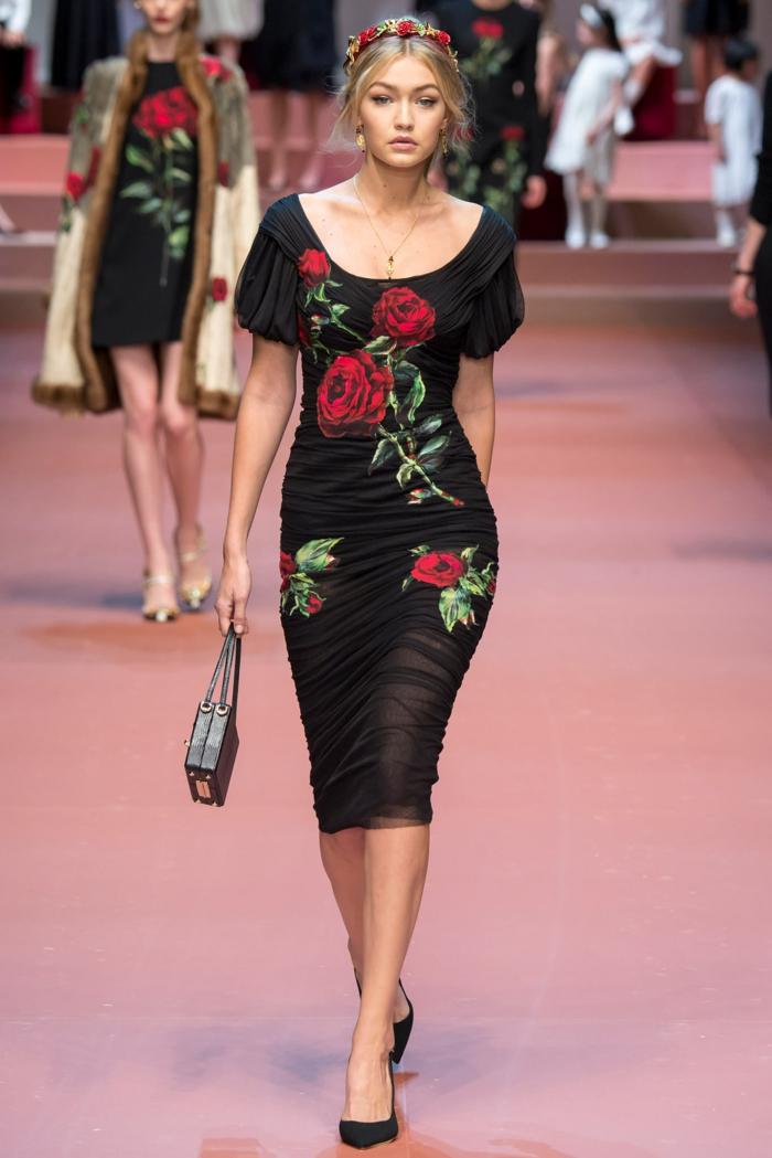 vintage kleider damenmode neue tendenzen rote rosen sommer 2016 dolce gabbana