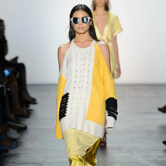 vintage kleider new york fahion week 2016 trends pullover gelb weiß