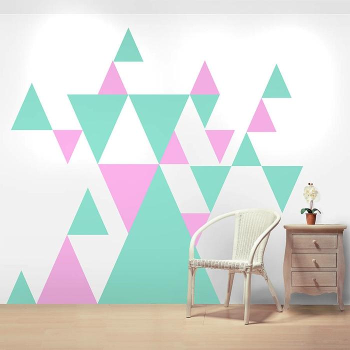 wände gestalten geometrische muster grün rosa