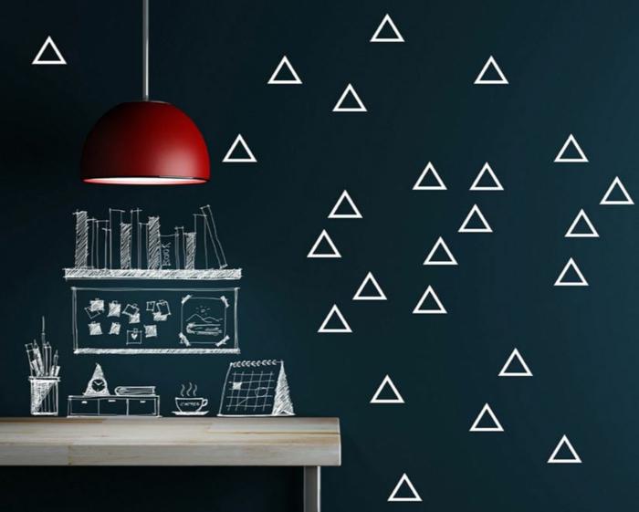 wände farblich gestalten grafisch muster decor einrichtungsbeispiele