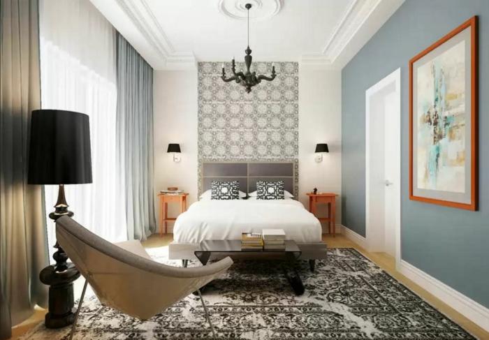 wände gestalten grafisch muster einrichtungsbeispiele schlafzimmer