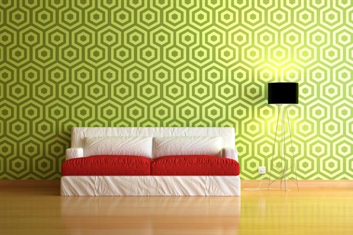 wände gestalten grafisch muster grün art