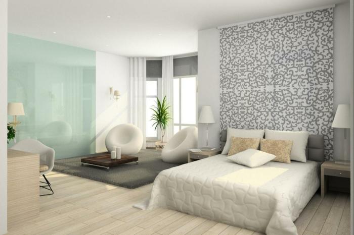 wände farblich gestalten grafiscх muster schlafzimmer einrichtungsbeispiele