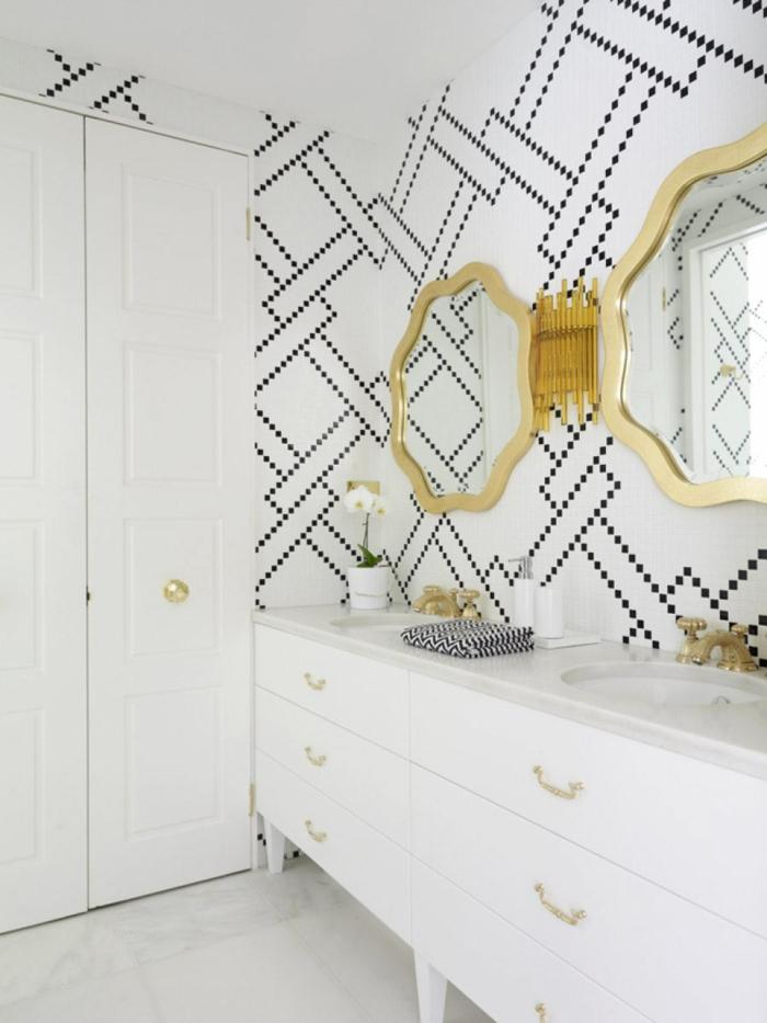 wände farblich gestalten grafisch muster schwarz weiß badezimmer