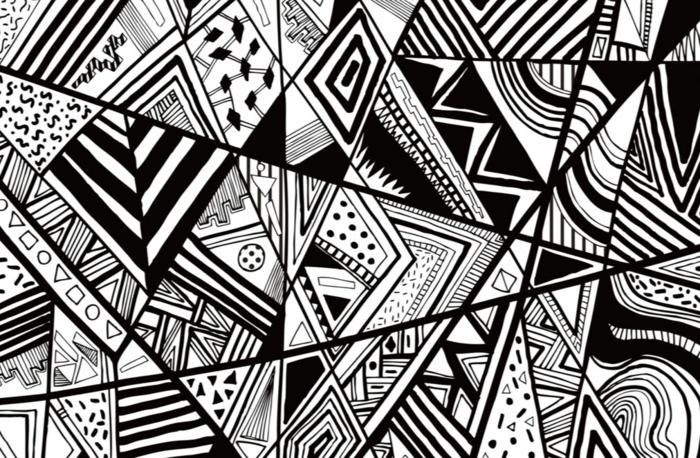 wände farblich gestalten grafisch muster schwarz weiß wild