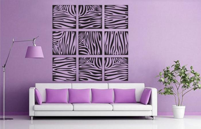 wände farblich gestalten grafisch muster zebra einrichtungsbeispiele