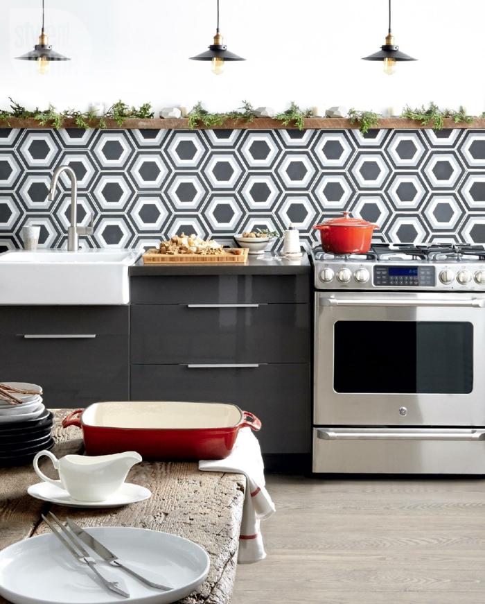 wände gestalten grafische muster küche