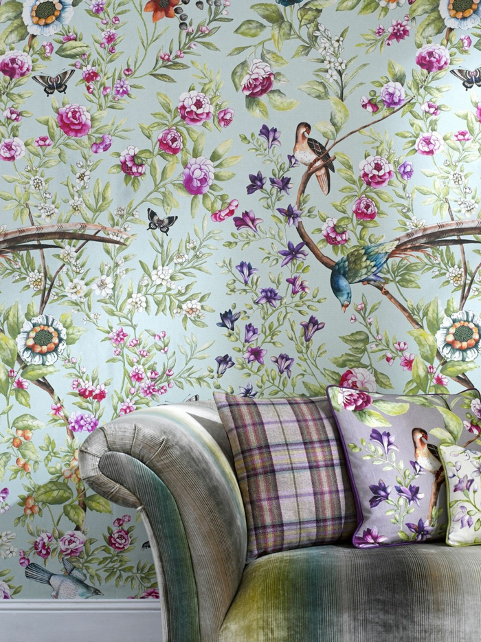 Grey And Cerise Pink Living Room Wallpaper