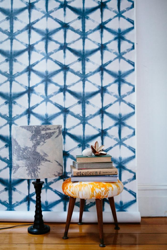 wände gestalten shibori muster blau einrichtungsideen