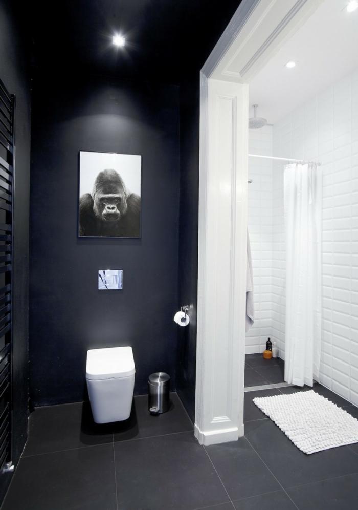 wandfarbe schwarz badezimmer einrichten schwarz weiß dekoideen