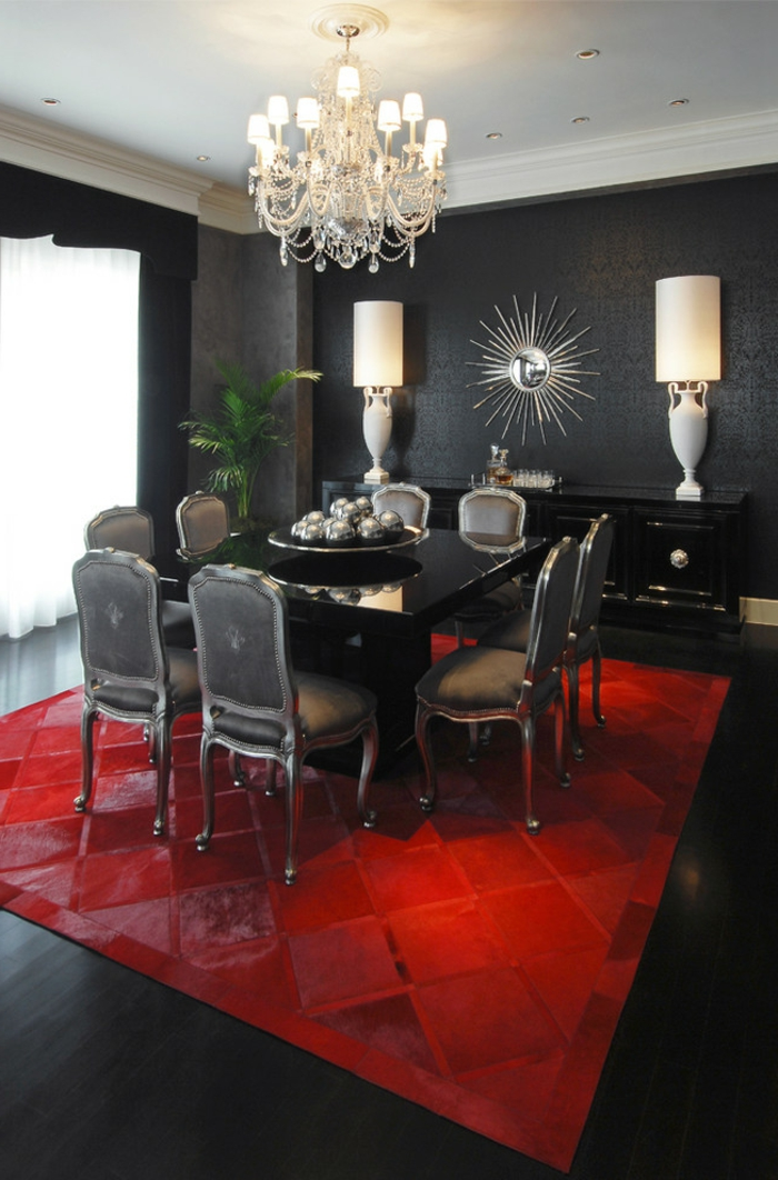 Wandfarbe schwarz 59 beispiele f r gelungene innendesigns for Black white and red dining room ideas