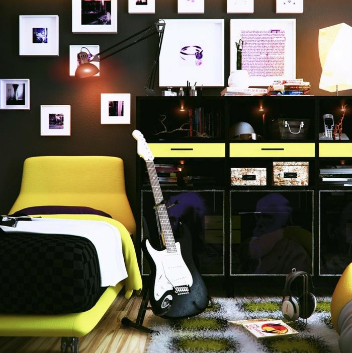wandfarbe schwarz jugendzimmer gelbe akzente dekoideen
