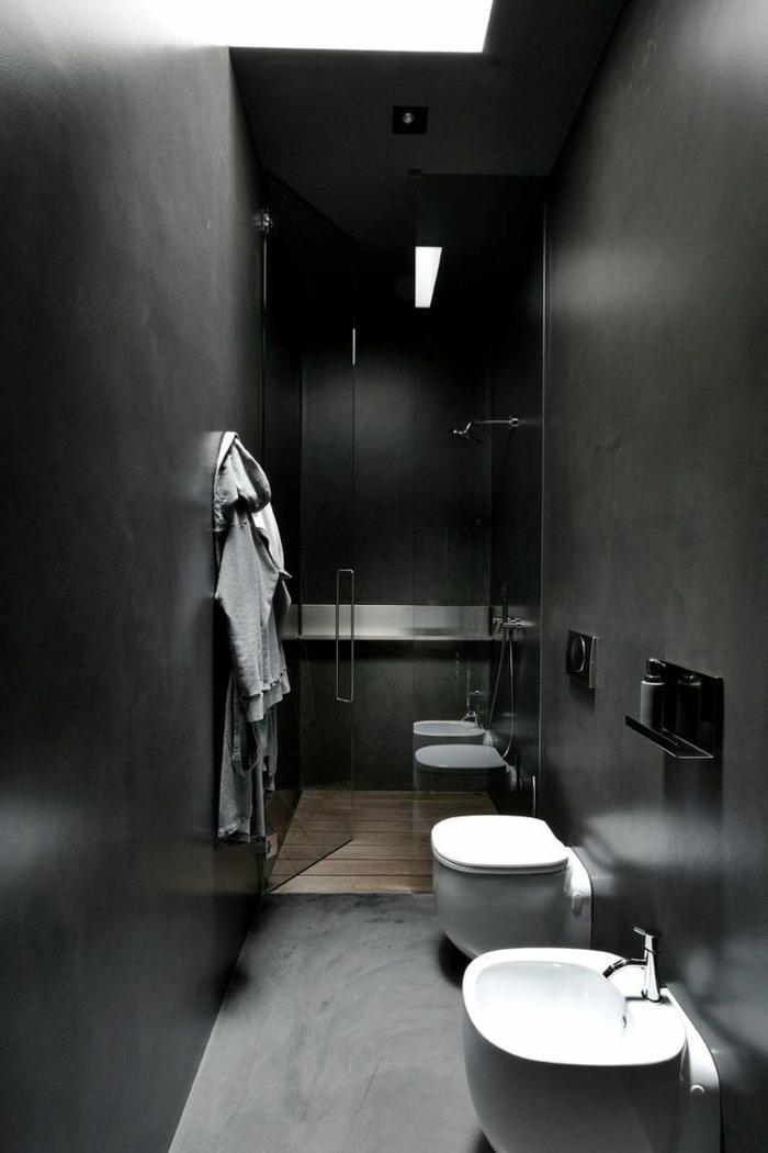 wandfarbe schwarz kleines bad ideen dusche