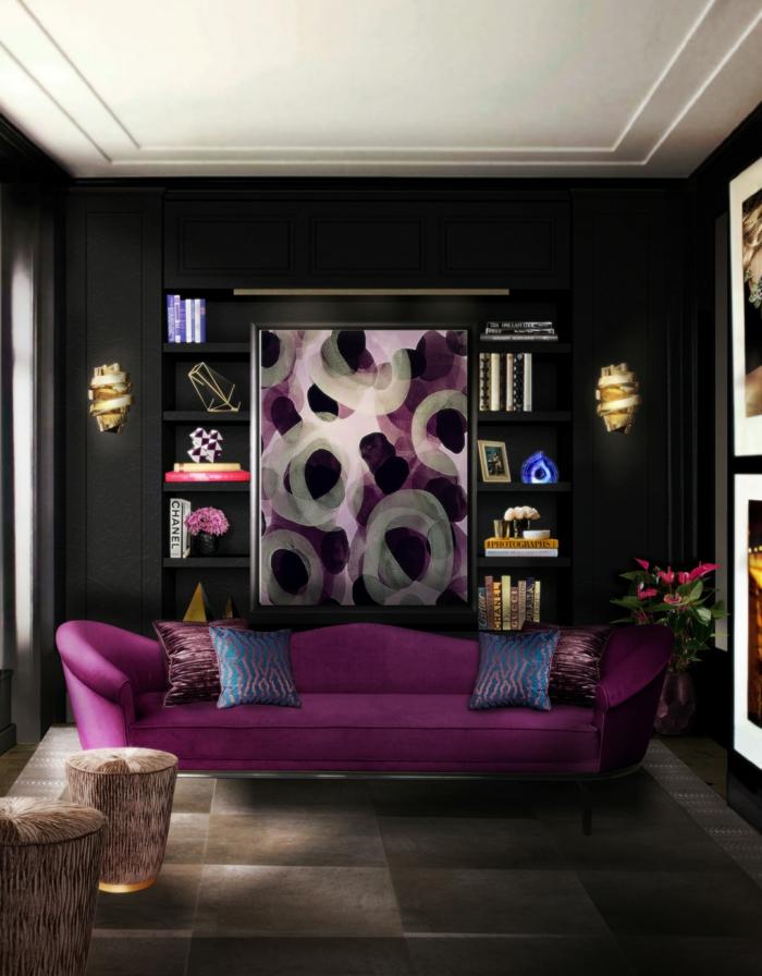 Wandfarbe Schwarz Lila Sofa Wohnzimmereinrichtung Ideen Beleuchtung