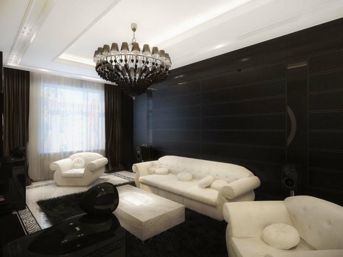 wandfarbe schwarz schwarze wandgestaltung weißes mobiliar schwarzer teppich