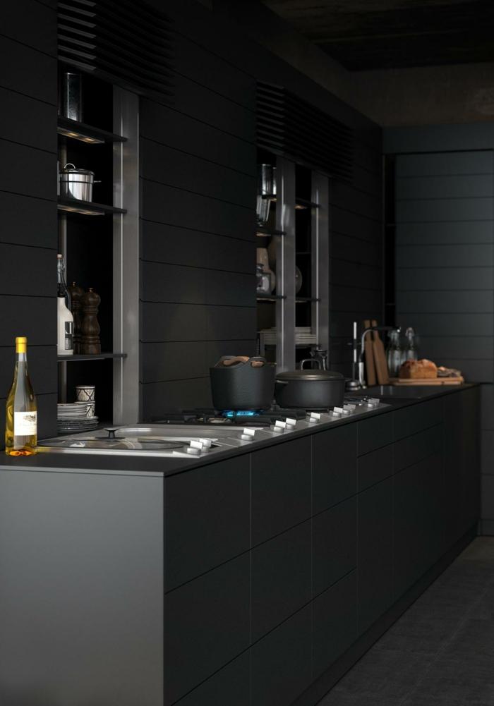 wandfarbe schwarz schwarze wandpaneele küche kücheninsel