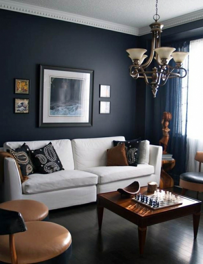 wandfarbe schwarz weißes sofa retro möbel