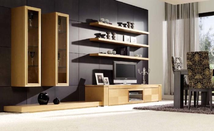 wandfarbe schwarz wohnwand hölzerne möbel offener wohnplan