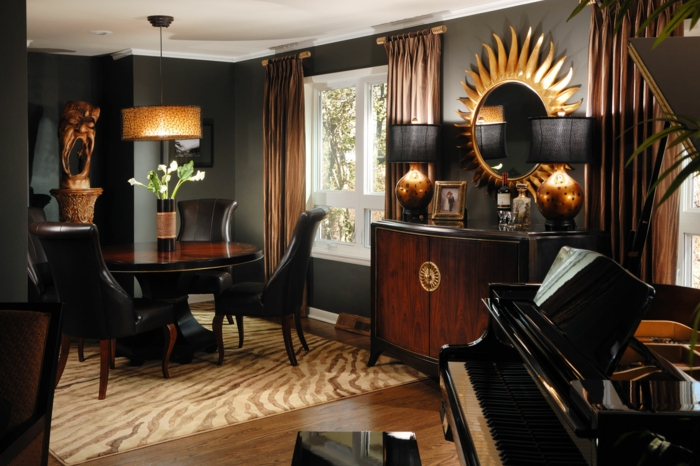 wandfarbe schwarz wohnzimmereinrichtung ideen essbereich hängeleuchte eleganter teppich