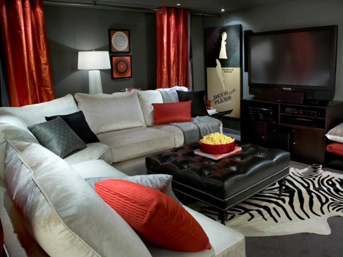 wandfarbe schwarz wohnzimmereinrichtung ideen krasse akzente fellteppich