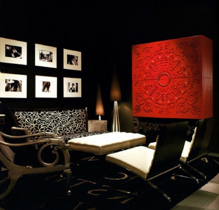 Wandfarbe Schwarz Wohnzimmereinrichtung Ideen Rote Akzente