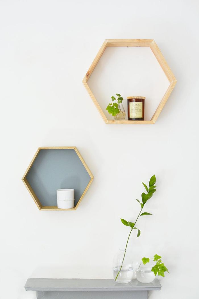 wandregal selber bauen hexagon kreative wohnideen