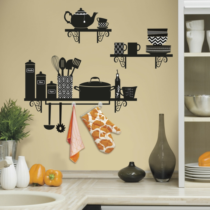 wandtattoos lustige wanddeko ideen wandgestaltung küche
