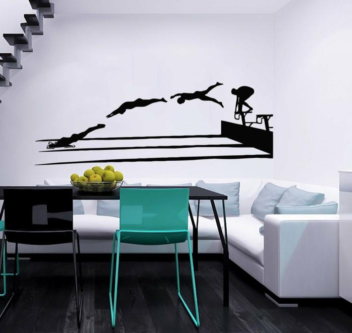 wandtattoo wohnzimmer amazon weißes ecksofa weiße wände