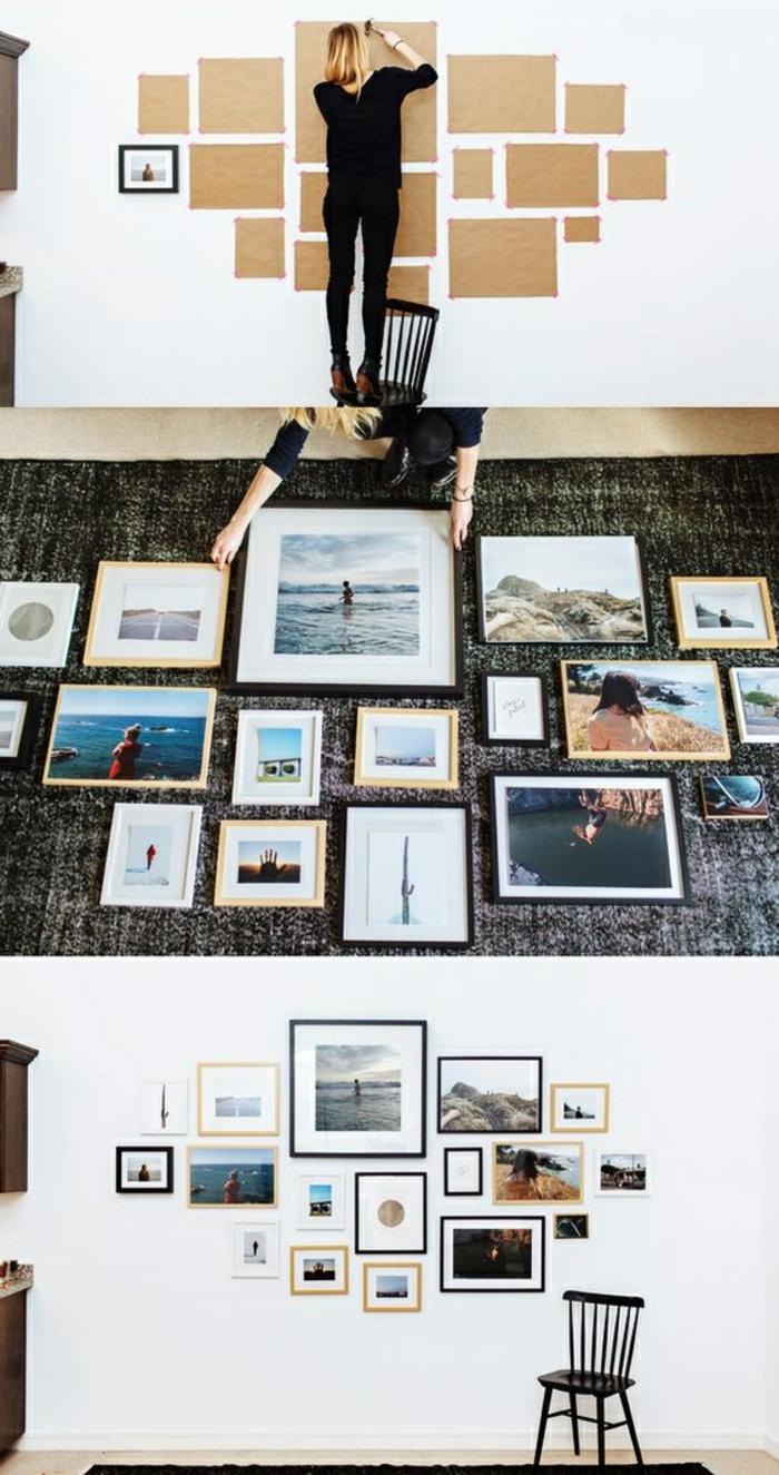 wie können Sie eine Fotowand selber machen Wandgestaltung mit Bildern
