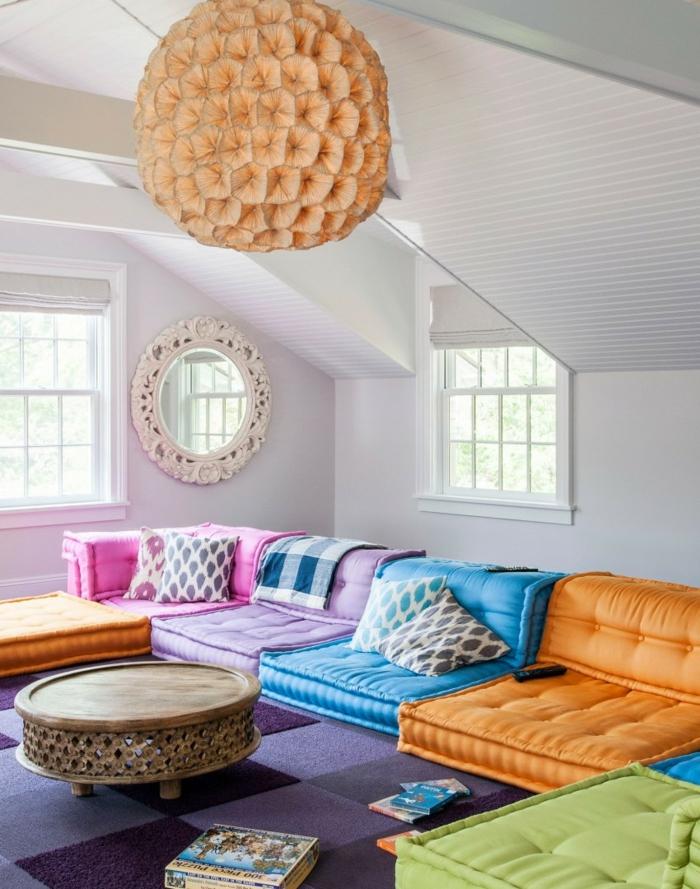 wohntrends pendelleuchte farbige möbel wohnideen wohnzimmer