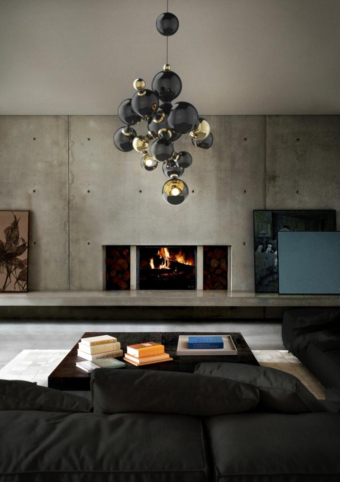 wohntrends wohnideen wohnzimmer kamin wandgestaltung betonoptik