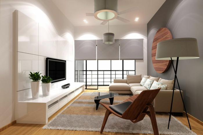 wohntrends wohnideen wohnzimmer neutrale schattierungen große lampenschirme