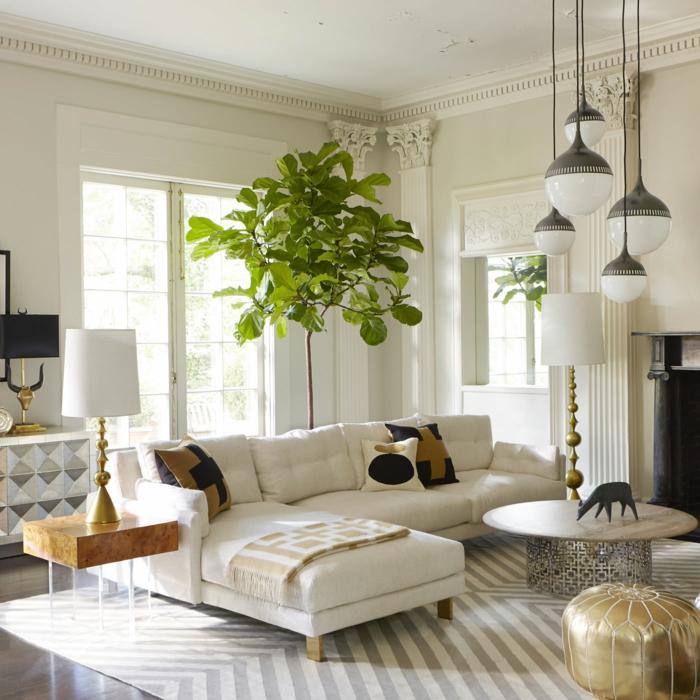 wohntrends wohnzimmer weißes interieur pflanzen teppichmuster