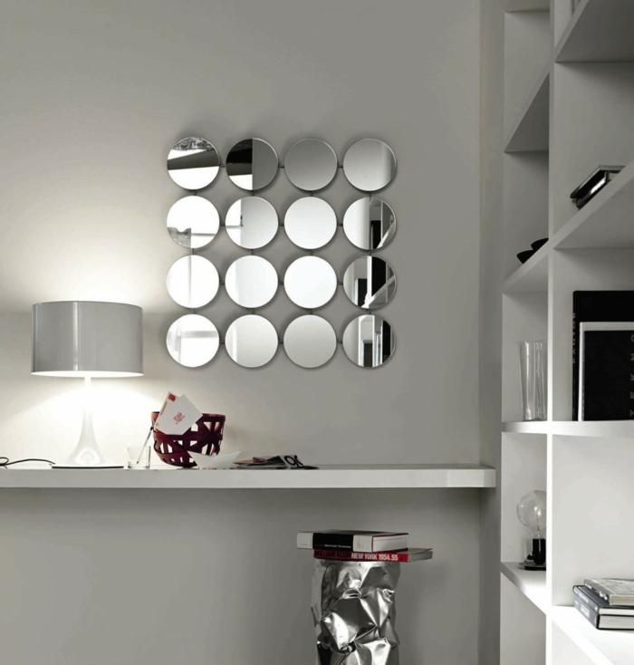 wohnung dekorieren cooler wandspiegel minimalistischer schreibtisch