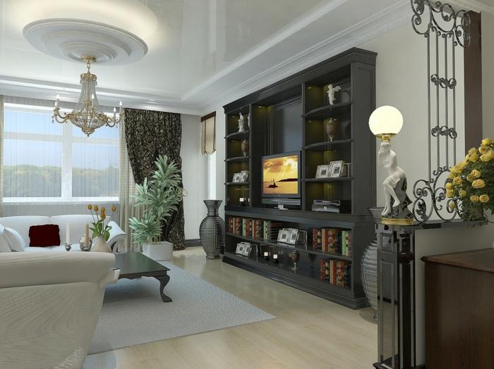 wohnung dekorieren wohnzimmer pflanzen leuchten wohnwand - Dekoriertes Wohnzimmer In Wei